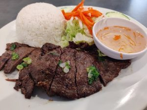 grilled beef on rice